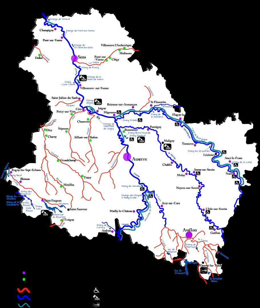 Carte du domaine piscicole de l'Yonne