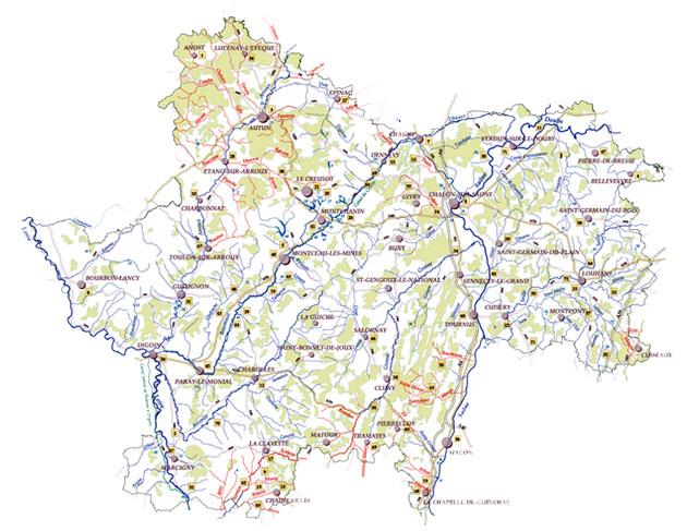 Réseau hydrographique de Saône-et-Loire