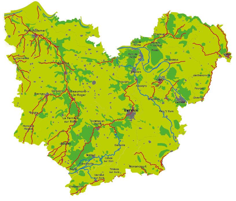 Réseau hydrographique de l'Eure